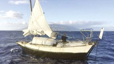 Kris Larsen's boat, the Kehaar Darwin, off the Hawaiian coast.