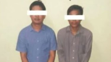 Reuters journalists Wa Lone and Kyaw Soe Oo after their arrest in an image published by the Myanmar's Information Ministry.