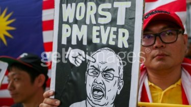 Protesters in Kuala Lumpur demand the resignation of Najib Razak in August 2015.