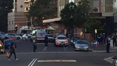 Paramedics at the scene of the shooting in Parramatta.
