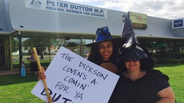 """The witching hour"": About 15 protesters gathered outside Peter Dutton's office north of Brisbane."