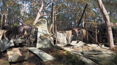 All the was left of a storage shed at the Sydney Tramway Museum following a fire.