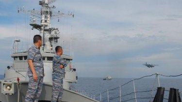 Aboard the Indonesia Navy ship.