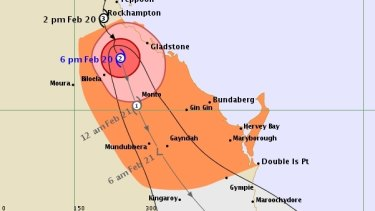 The 6pm Friday tracking map for Tropical Cyclone Marcia.