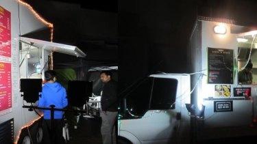 Food trucks serving Indian food in Werribee on Saturday night.