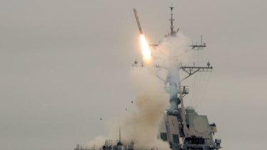 A Tomahawk missile is launched during a test in 2010 in the Pacific Ocean.