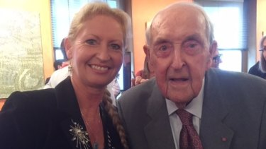 Former ACT head of planning Dorte Ekelund with Sir Lenox Hewitt at the celebrations in Sydney.
