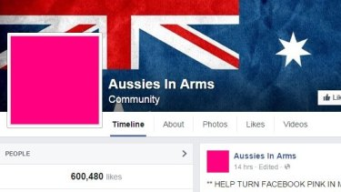 Turning pink: A screenshot of the Aussies in Arms Facebook page.