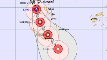 The latest prediction for shows Cyclone Donna heading for New Caledonia