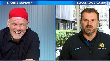 Peter FitzSimons and Ange Postecoglou on Sports Sunday in September.