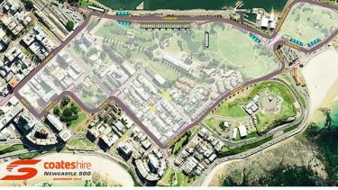Aerial view of Supercars' proposed layout of Newcastle street circuit, which will host the season finale for at least the next five years.