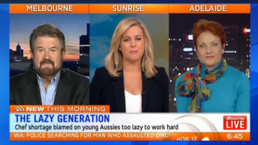 'I'm going to put it out there: Is Generation Y lazy?' Sam Armytage hosts a debate between Derryn Hinch and Pauline Hanson.