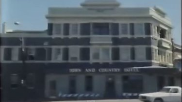 Iconic: The Town & Country in a screen grab from the Slim Dusty video.