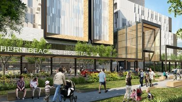 An artist's impression of the Northern Beaches Hospital at Frenchs Forest due to open in 2018.