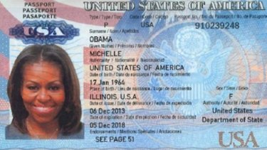 Part of the image purporting to be the First Lady of the United States' passport posted online.