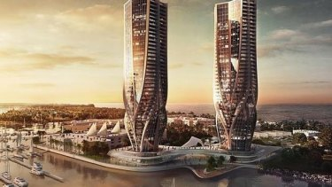 Sunland says it will build a shopping centre on the Spit if these twin towers are rejected.