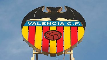 Bat signal: Valencia's logo overlooks the city.