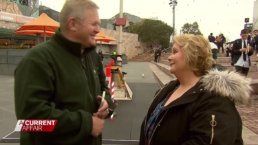 This likely No voter, left, considers changing his mind after speaking with Szubanski on A Current Affair.