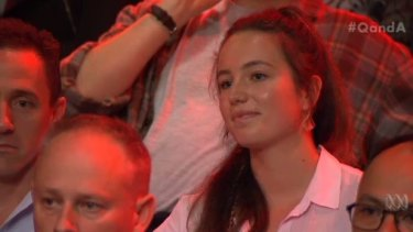 Georgia Weymouth-Large in the Q&A audience on Monday night.
