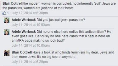 United Patriots Front leader Blair Cottrell has taken to Facebook to express his views on women and Jews.