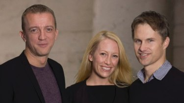 Renaud Visage, left, with fellow Eventbrite cofounders Kevin and Julia Hartz.