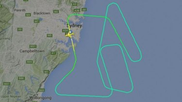 The flight path of United Airlines Flight 840, which returned to Sydney Airport, apparently after striking birds.