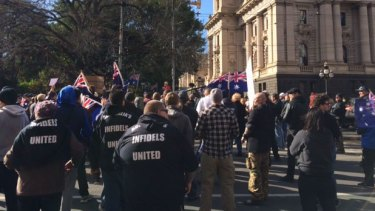Reclaim Australia (RA) and United Patriots Front (UPF) rally in Melbourne in July.