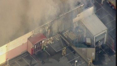 An aerial picture of the fire at Little Saigon Market.