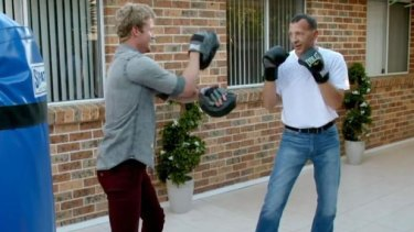 Richie Strahan sparring with Olena's father.