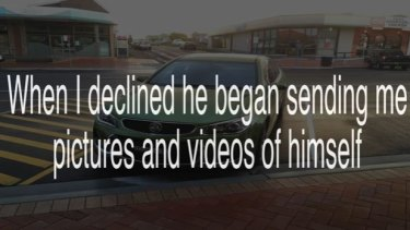 A screenshot from a  video in which the Coffs Coast Pedo Hunter accuses a Taree man of sending explicit photos to a girl he believed was under 18.