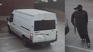 Pictures of a white Ford Transit van and a man believed to be involved in the robbery.