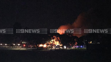 The fire at Wesley College.
