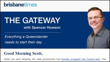 An example of Spencer Howson's new daily news email, The Gateway.