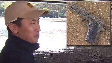 A Perth fisherman got a surprise when he caught a gun in the Swan River.