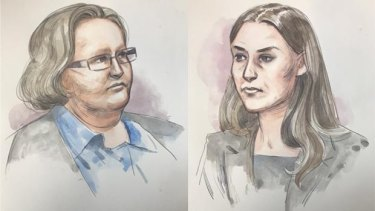A court sketch of Trudi Lenon, left, and Jemma Lilley, right.