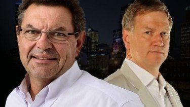 Steve Price and Andrew Bolt, a regular panelist on Price's 3AW <i>Nights</i> show.
