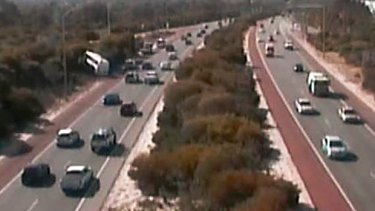 The bus has veered into bush land on the Mitchell Freeway.
