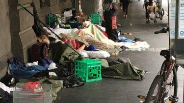The sleeping rough camp in Flinders Street.