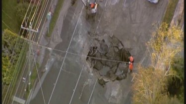 The large hole that opened up on Glen Eira Road, Caulfield, disrupting traffic.