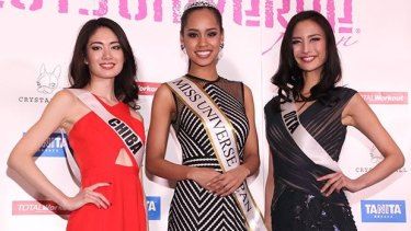 Miss Universe Japan: Ariana Miyamoto poses with other contestants.