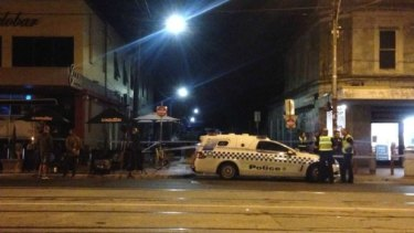 Police block St Phillip Street in Brunswick East after a man's body was discovered.