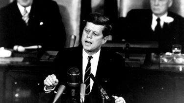 President John F Kennedy before Congress in 1961, committing to a moon landing before the end of the decade.