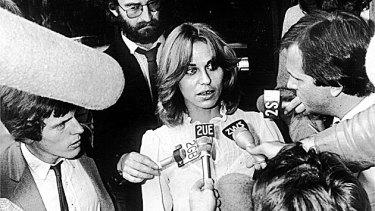 Sallie-Anne Huckstepp talks to the media after the death of her boyfriend Warren Lanfranchi.