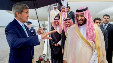 US Secretary of State John Kerry with Saudi King Salman, and Deputy Crown Prince Mohammad in Washington