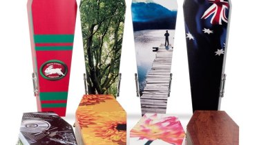 Lifeart coffins can feature everything from photography to NRL team colours.
