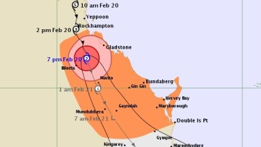 The 7pm Friday tracking map for Tropical Cyclone Marcia.