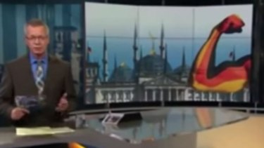 Show of strength: Germany's ARD broadcast this image at the start of <i>Report from Berlin</i>.
