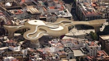 Mushroom effect: The award-winning Metropol Parasol in Seville, Spain, consists of six large timber parasols, built in a mushroom-shaped lattice.