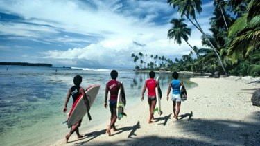"La Gundi in Nias in 1981 when it was still described as a ""surfer's dream""."