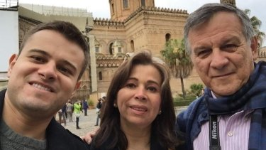 Last picture: Javier Camelo in a selfie with his his father, José Arturo Camelo, and his mother, Miriam Martinez Camelo, in the Italian city of Palermo.